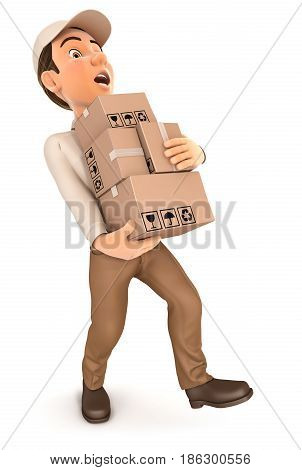 3d delivery man overworked illustration with isolated white background
