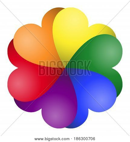 Gay pride rainbow color hearts fan. Six hearts in the LGBT movement colors forming a shamrock like fan. Symbol for tolerance and peace. Isolated illustration on white background. Vector.