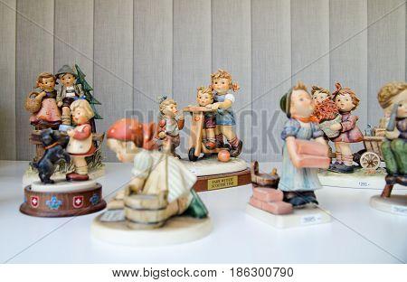 LUCERNE, SWITZERLAND - JUNE 12, 2013: funny souvenirs for sale at gift shop in Lucerne. Switzerland.