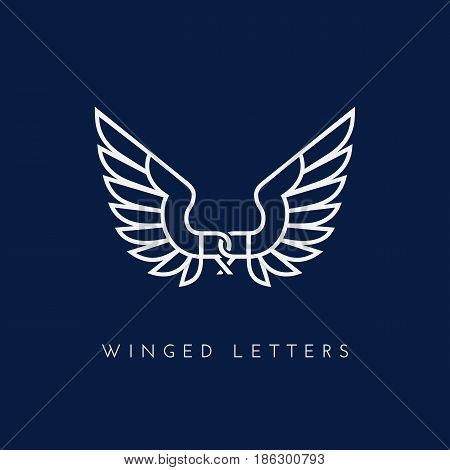 Letters RR with wings. Template for logo label emblem sign stamp. Vector illustration.