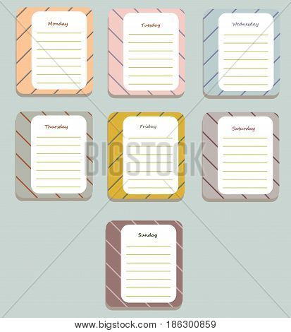 The sheets of the planner for weekly planning in sweet stripes with the names of the days of the week. Diary.Vector illustration.