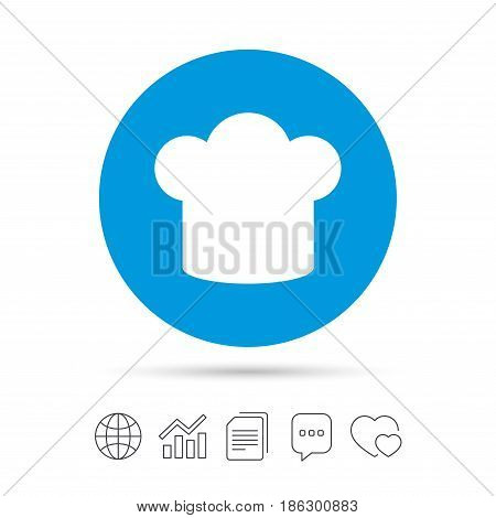 Chief hat sign icon. Cooking symbol. Cooks hat. Copy files, chat speech bubble and chart web icons. Vector
