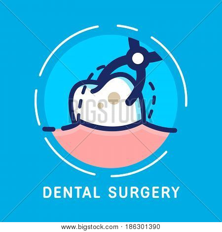 Health Dent Logo design vector template flat line style. Dental surgery. Dental clinic logotype concept icon. Health tooth poster or card.