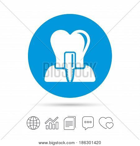 Tooth implant icon. Dental endosseous implant sign. Dental care symbol. Copy files, chat speech bubble and chart web icons. Vector