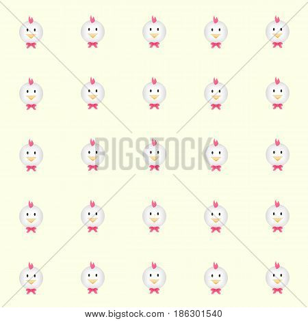 cutie chickens with yellow background. tile background. vector. illustration. basic Red Green Blue. graphic design.
