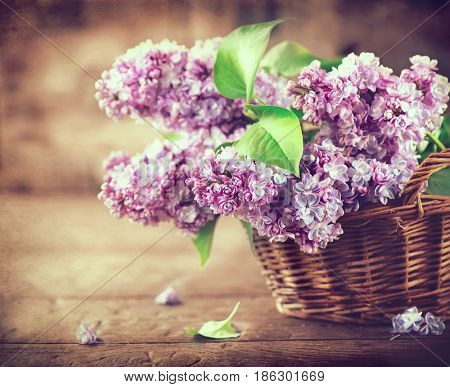 Lilac flowers bunch in a basket over blurred wood background. Beautiful violet Lilac flower still life border design on wooden table. Beauty fragrant Lilac Flowers bouquet