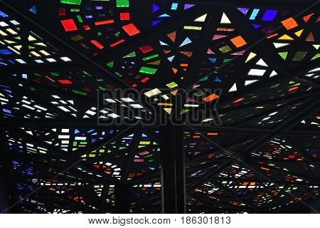 background stain glass lead light colored ceiling