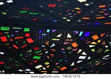 background stain glass kaleidoscope colored roof ceiling