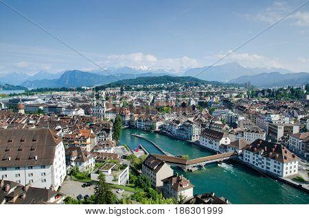 LUCERNE, SWITZERLAND - JUNE 12, 2013: Aerial view of Lucerne city, Switzerland