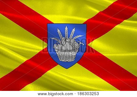 Flag of Bobigny is a commune and capital of the Seine-Saint-Denis departement as well as the seat of the Arrondissement of Bobigny France. 3d illustration