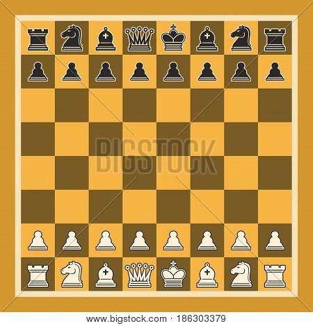 Vector illustration of Chess Board: set black and white isolated chess pieces, chessboard of yellow and brown colors, professional simple chess board, collection of chessman figures.