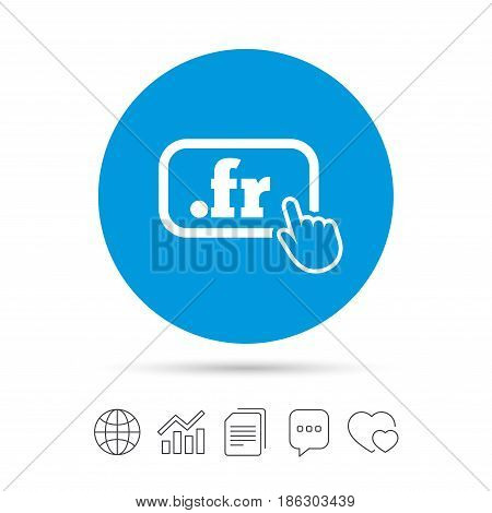 Domain FR sign icon. Top-level internet domain symbol with hand pointer. Copy files, chat speech bubble and chart web icons. Vector