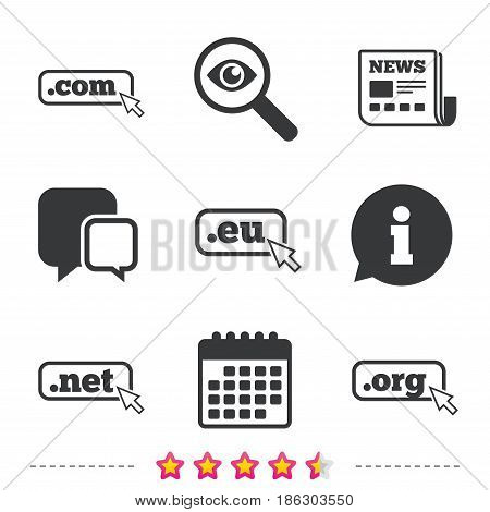 Top-level internet domain icons. Com, Eu, Net and Org symbols with cursor pointer. Unique DNS names. Newspaper, information and calendar icons. Investigate magnifier, chat symbol. Vector