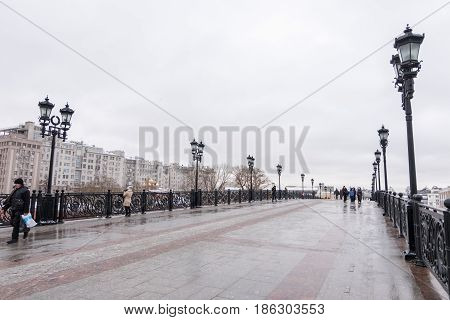 Moscow, Russia. 18 December 2016 : View Of Patriarshy Bridge And Building Along Frozen Moskva River