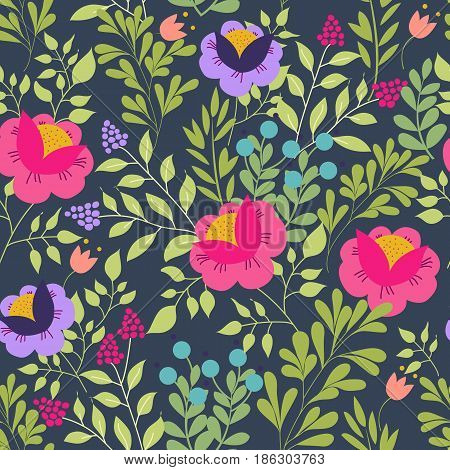 Floral seamless pattern with beautiful pink flowers. Forest design. Exotic flowers, berries and leaves. Pattern for summer fashion prints. Dark blue background. Vector illustration