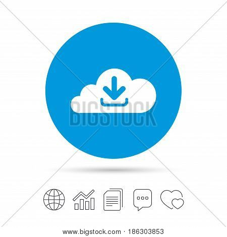 Download from cloud icon. Upload button. Load symbol. Copy files, chat speech bubble and chart web icons. Vector