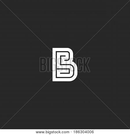 Letter B Logo Maze Monogram, Wedding Invitation Initials Bold Line Emblem Mockup, Simple Maze Geomet