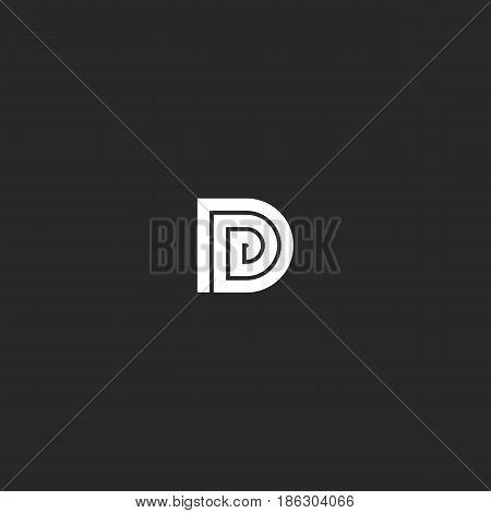 D Logo Capital Initial Letter Design Element Template. Line Snake Monogram Symbol. Maze Linear Art B