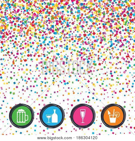 Web buttons on background of confetti. Alcoholic drinks icons. Champagne sparkling wine and beer symbols. Wine glass and cocktail signs. Bright stylish design. Vector
