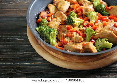 Chicken stir fry in pan, closeup