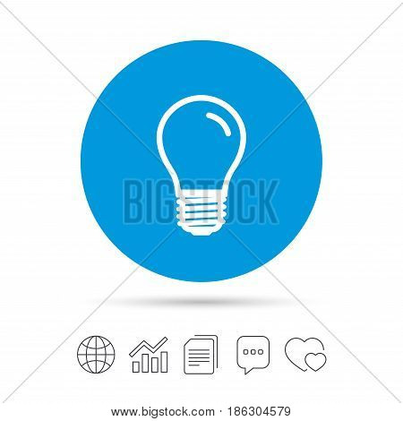 Light bulb icon. Lamp E27 screw socket symbol. Led light sign. Copy files, chat speech bubble and chart web icons. Vector