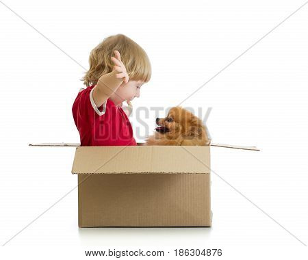Smiling child boy and dog playing in cardbox isolated on white background