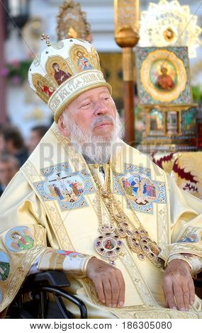 Kiev, Ukraine, celebration liturgy in honor of the baptism of Rus in Kiev Pechersk Lavra - 27 July 2013 -: Portrait of Metropolitan Volodymyr