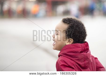 portrait of a beautiful multi racial happy boy