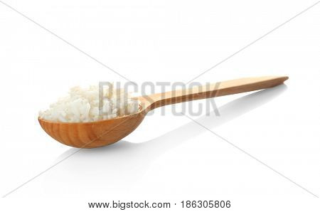 Wooden spoon with coconut rice on white background