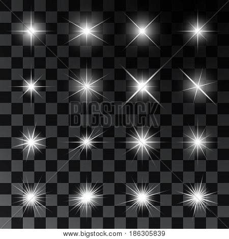 Set of glowing and twinkling stars. Realistic effects of sparkles and highlights. Vector illustration