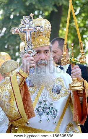 Kiev, Ukraine, celebration liturgy in honor of the baptism of Rus in Kiev Pechersk Lavra - 27 July 2013 -: Portrait Theophilus III Patriarch of Jerusalem