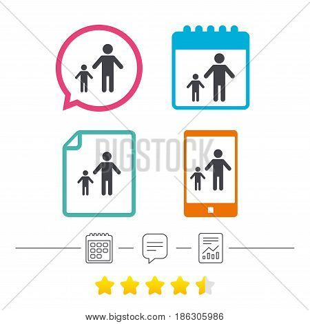 One-parent family with one child sign icon. Father with son symbol. Calendar, chat speech bubble and report linear icons. Star vote ranking. Vector