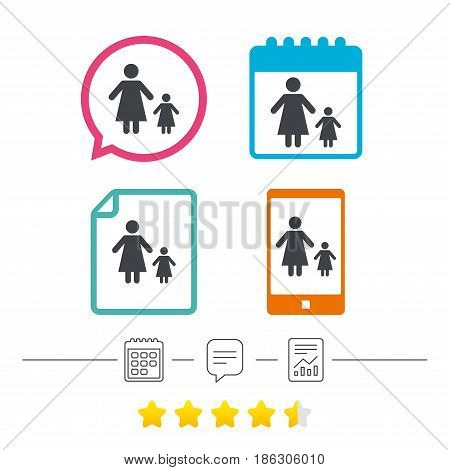 One-parent family with one child sign icon. Mother with daughter symbol. Calendar, chat speech bubble and report linear icons. Star vote ranking. Vector