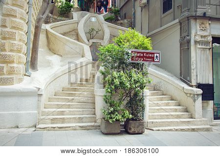 Camondo Stairs in Galata District in Istanul Turkey. The stairs climb the hill from the Galata docks and Avenue of the Banks