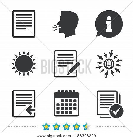 File document icons. Upload file symbol. Edit content with pencil sign. Select file with checkbox. Information, go to web and calendar icons. Sun and loud speak symbol. Vector