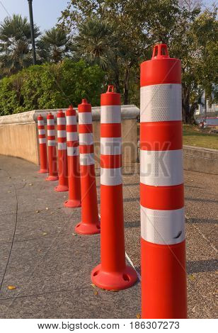 Red and white colored street barrier safty