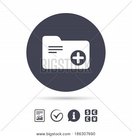 Add document folder sign. Accounting binder symbol. Bookkeeping management. Report document, information and check tick icons. Currency exchange. Vector
