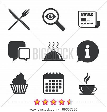 Food and drink icons. Muffin cupcake symbol. Fork and knife sign. Hot coffee cup. Food platter serving. Newspaper, information and calendar icons. Investigate magnifier, chat symbol. Vector
