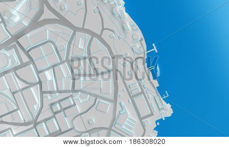coast low poly city top view. 3d rendering