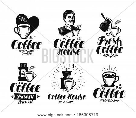 Coffee, espresso label set. Cafe, coffeehouse, cafeteria, hot drink symbol or logo. Lettering vector illustration isolated on white background