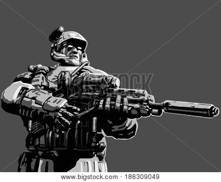 Night hunter with assault rifle. Vector illustration. Science fiction original character the soldier of the future.