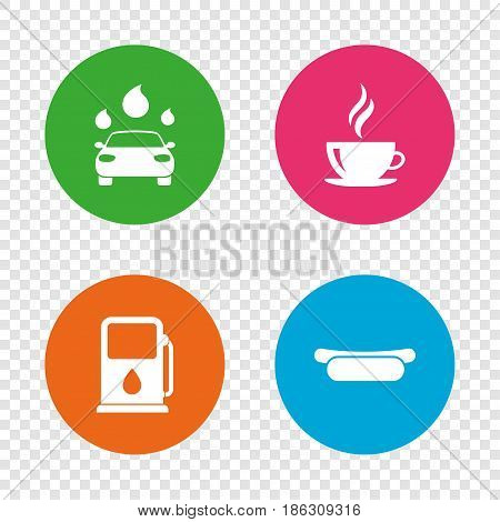 Petrol or Gas station services icons. Automated car wash signs. Hotdog sandwich and hot coffee cup symbols. Round buttons on transparent background. Vector