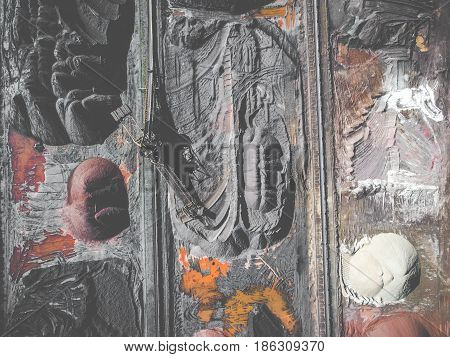Brown Coal Deposits. Surface Mine With Exposed Colored Minerals And Brown Coal, Mining Equipment. Vi