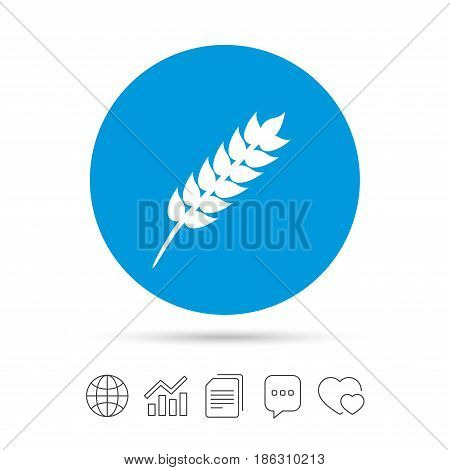 Gluten free sign icon. No gluten symbol. Copy files, chat speech bubble and chart web icons. Vector