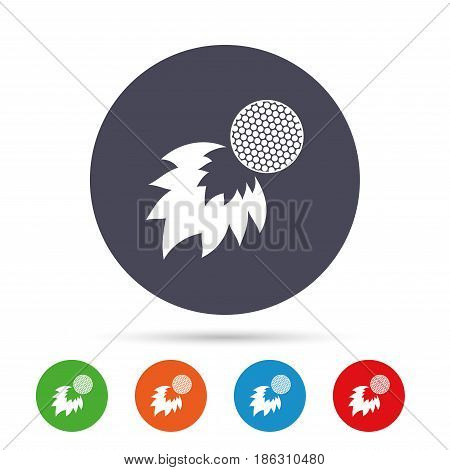 Golf fireball sign icon. Sport symbol. Round colourful buttons with flat icons. Vector