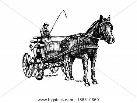 Vector hand drawn illustration of spider phaeton. Open sporty carriage drawn by one horse. Black and white isolated on white. In vintage engraved style.