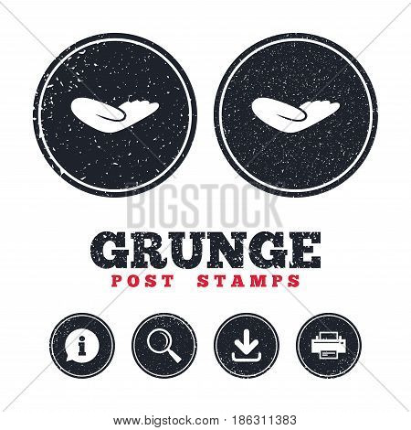 Grunge post stamps. Donation hand sign icon. Charity or endowment symbol. Human helping hand palm. Information, download and printer signs. Aged texture web buttons. Vector