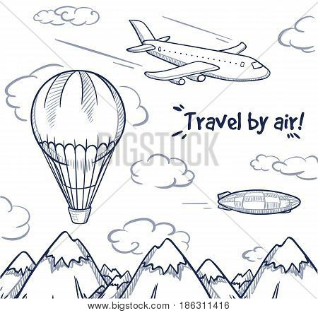 Doodle air trip concept with flying airplane balloon and airship on mountain landscape vector illustration