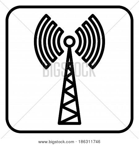 Sign of communications tower on white background.