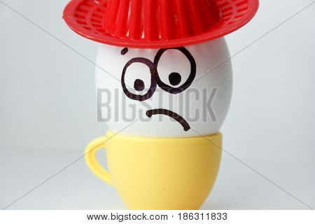 An Egg With A Face. Funny And Sweet. Sad In The Hat.
